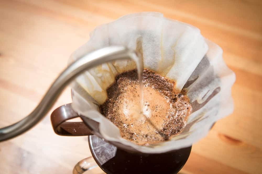 How to make Pour Over Coffee - Step 8: Slowly Pour Water - CoffeeHow.co