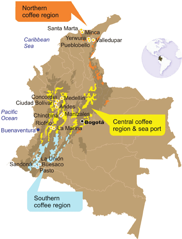 Map of Colombian coffee regions