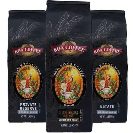 Koa Coffee Medium Roast Whole Bean Kona Tri-Pack